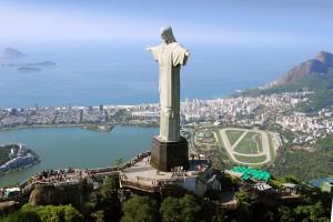 Aerial view of Christ the Redeemer Monument and Rio De Janeiro